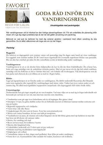 Tips om utrustning inför din resa (pdf) - Favoritresor