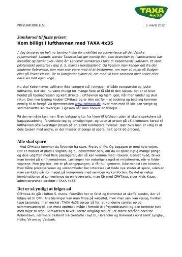 Samkørsel til faste priser: Kom billigt i lufthavnen med TAXA 4x35 ...