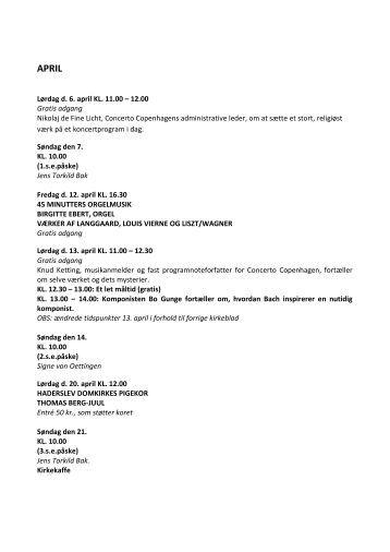 Lørdag d. 6. april KL. 11.00 – 12.00 Gratis adgang ... - Ribe Domkirke