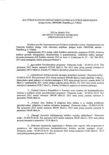 Kultūros paveldo departamento 2012 metų II ketvirčio (įstaigos)