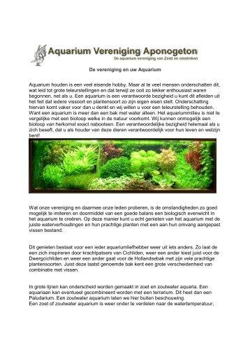 De vereniging en uw Aquarium Aquarium houden is een veel ...