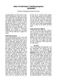 Ideer til aktiviteter i lokalforeningerne - Foreningen Norden