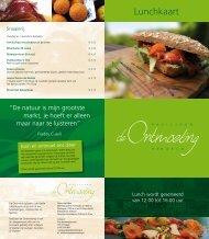 Lunchkaart - Paviljoen de Ontmoeting