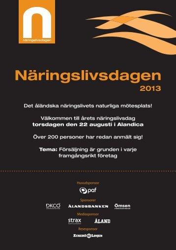 Infoblad 2013 - Ålands Näringsliv