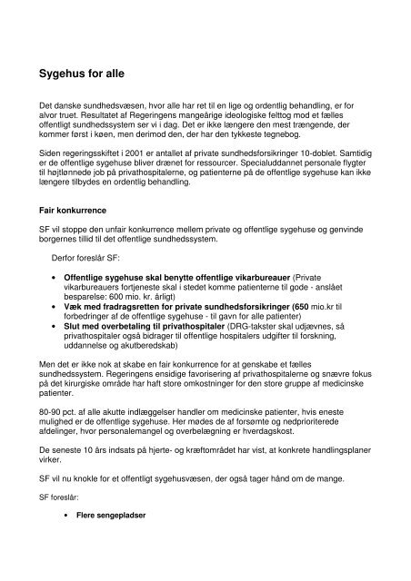 Sygehus for alle