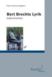 Bert Brechts Lyrik. Außenansichten - im Shop von Narr Francke ...