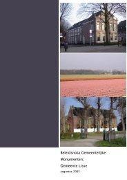 Beleidsnota gemeentelijke monumenten 2005 - Gemeente Lisse