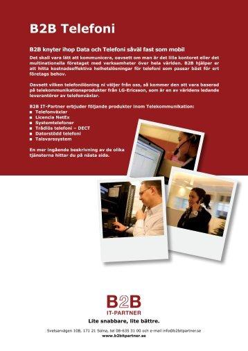 Produktblad B2B Telefoni (pdf) - B2B IT-Partner