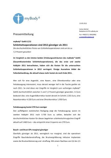 GeKIS 1/11 - Signifikante Preissteigerung bei ... - myBody.de
