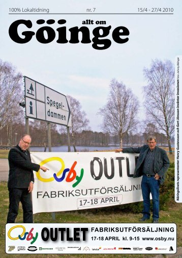 FABRIKSUTFÖRSÄLJNING 17-18 APRIL kl. 9 ... - 100% lokaltidning