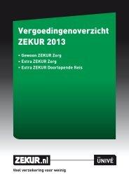 Vergoedingenoverzicht ZEKUR 2013