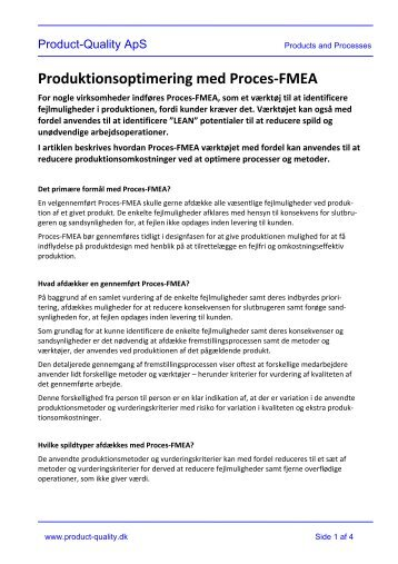 Produktionsoptimering med Proces-FMEA - Product-quality.dk