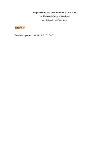 2 Soziale Kohäsion - Möglichkeiten und Grenzen einer Plansprache ...