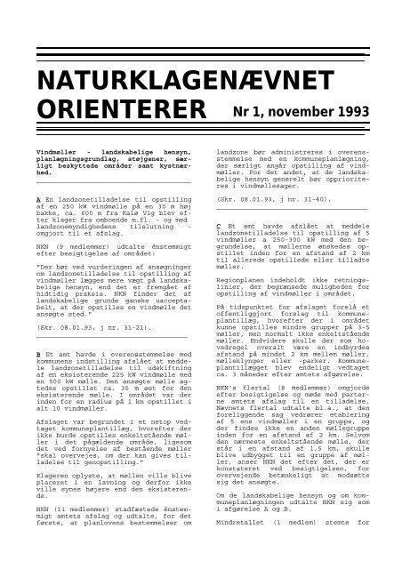 NATURKLAGENÆVNET ORIENTERER Nr 1, november 1993