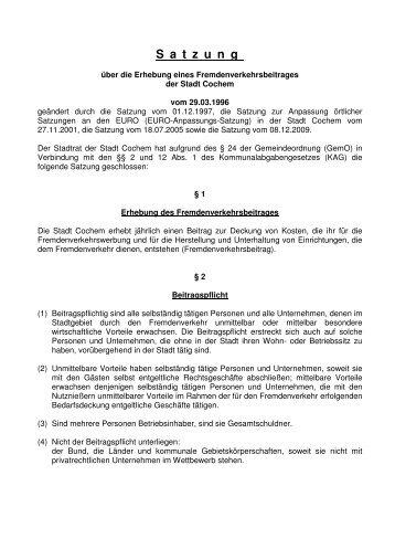 Satzung über die Erhebung eines Fremdenverkehrsbeitrages der ...