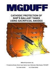 MGDuff Ballast Tank Cathodic Protection