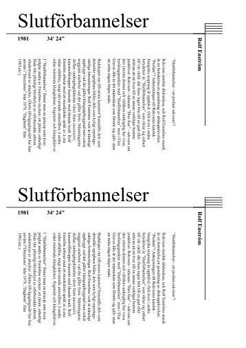Slutförbannelser Slutförbannelser - Rolf Enström