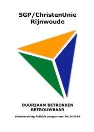 Politiek programma 2010-2014 verkorte versie,. - SGP ...