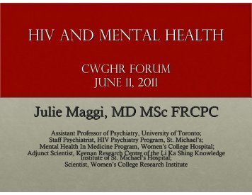 HIV AND MENTAL HEALTH - Canadian Working Group on HIV and ...