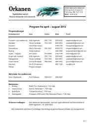 Program fra april – august 2013 - Single klubben Orkanen.dk