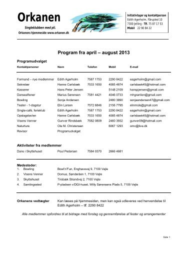 Program fra april – august 2013 - Single klubben Orkanen.dk