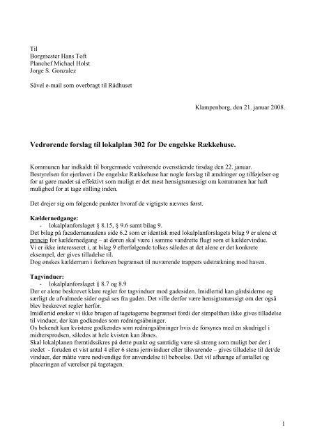 Vedrørende forslag til lokalplan 302 for De engelske Rækkehuse.