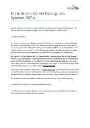 Privacy Statement - Syneton BVBA