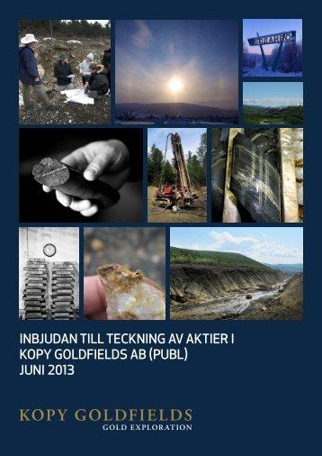 inBjudAn till tecKninG Av AKtier i Kopy Goldfields AB ... - beQuoted AB