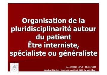 Etre interniste, spécialiste ou généraliste - SFLS