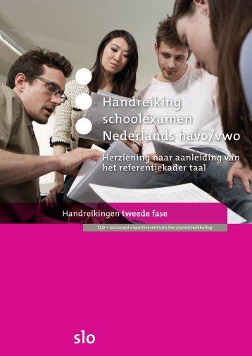 Handreiking schoolexamen Nederlands havo/vwo - Kennisnet