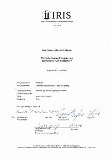 en gjøkunge i NAV-systemet? (pdf) - Evalueringsportalen