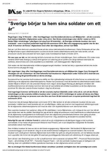 Sverige börjar ta hem sina soldater om ett år
