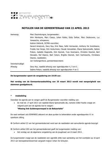Verslag gemeenteraad 22 april 2013 - Zwevegem
