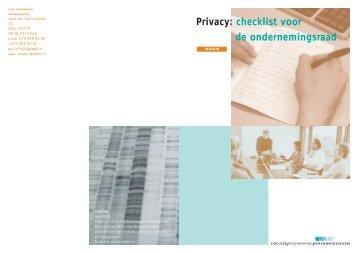 Privacy: checklist voor de ondernemingsraad - College bescherming ...