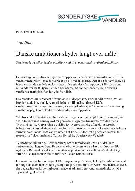 Danske ambitioner skyder langt over målet - LandboSyd