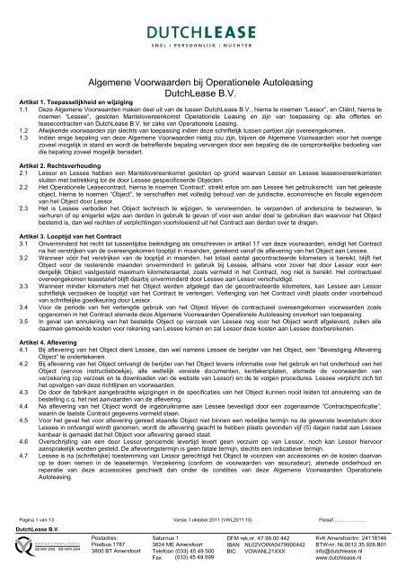 Algemene Voorwaarden Operational Lease Dutchlease