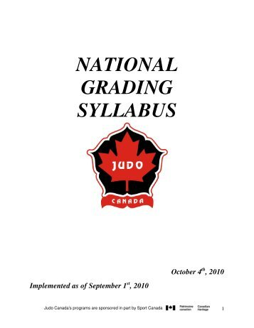 NATIONAL GRADING SYLLABUS - Judo Canada
