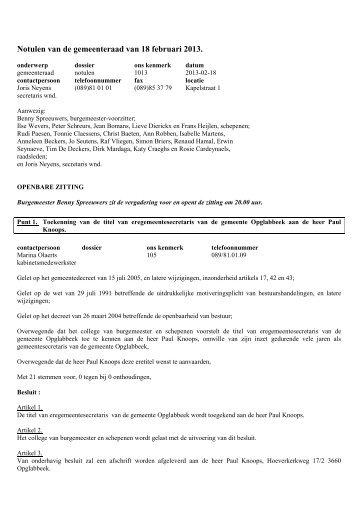 Notulen van de gemeenteraad van 18 februari 2013.