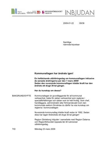 Kommunallagen har ändrats igen! - Region Gävleborg - Region ...