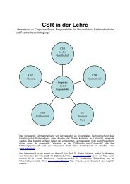 CSR in der Lehre - Ethacos - ethics and compliance solutions