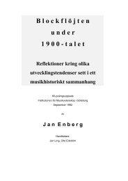 Blockflöjten under 1900-talet - Jan Enberg
