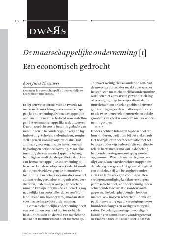 De maatschappelijke onderneming[ 1 ] Een economisch ... - CDA