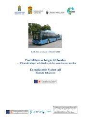 Produktion av biogas till fordon - förutsättningar och hinder på den ...