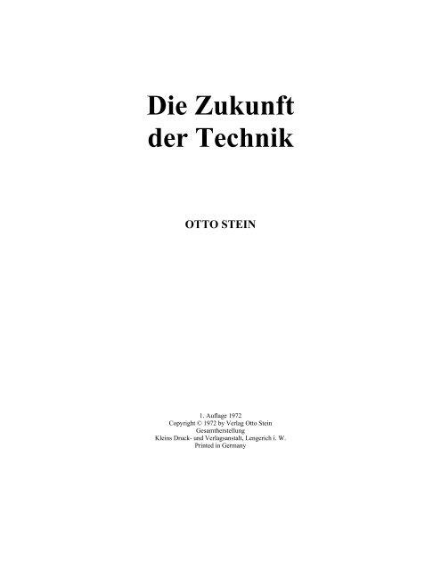"""Otto Stein """"Die Zukunft der Technik"""" (PDF)"""