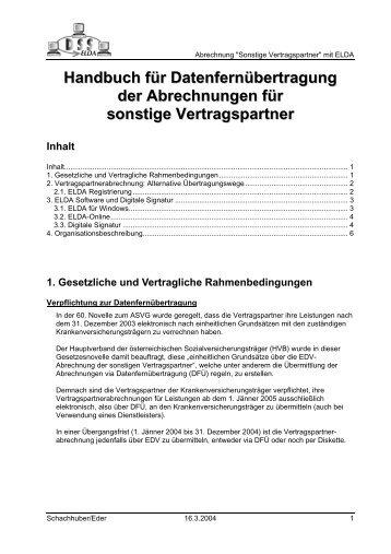 Handbuch für Datenfernübertragung der Abrechnungen für ... - ELDA