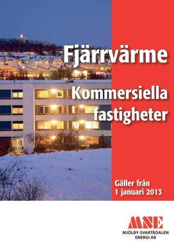 Prislista 2013 - fjärrvärme kommersiella fastigheter. - MSE
