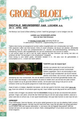 DIGITALE NIEUWSBRIEF G&B LOCHEM e.o. - Lochem - Groei & Bloei