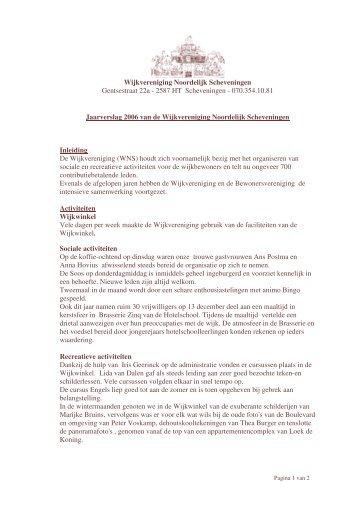 Wijkvereniging Noordelijk Scheveningen Gentsestraat 22a - 2587 ...