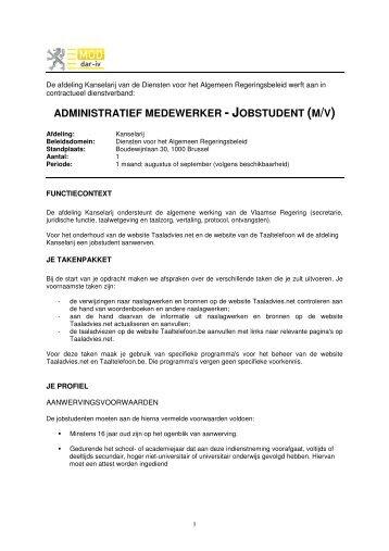 administratief medewerker - jobstudent (m/v) - Jobpunt Vlaanderen