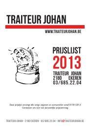 Traiteur Johan prijslijst 2013